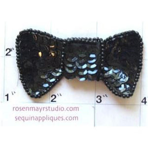 "Bow Black Sequins and Beads  1.5"" x 2.25"""