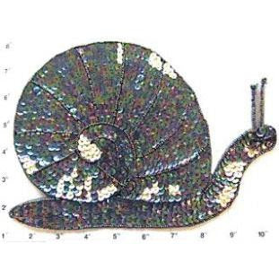 "Snail with Moonlite Sequins and Beads 11.5"" x 8.25"""
