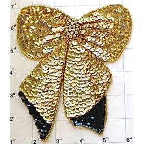 "Bow Gold Sequin with Black 6..5"" x 5.25"""