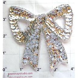 "Bow Silver Sequins and Beads 4"" x 4"""