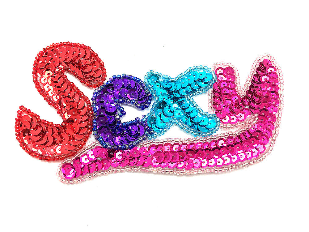"SEXY Word with Multi-Color Sequins and Beads 2.5"" x 5"""