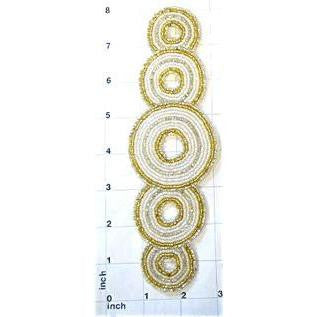 "Designer Motif with 5 Circles Gold and Iridescent Beads 7.75"" x 2.5"""
