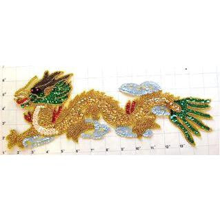 "Dragon with Multi-Colored Sequins and Beads 14"" x 6"""