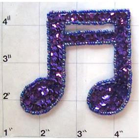 "Double Note with Purple Sequins and Beads 3"" x 3"""