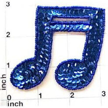 "Load image into Gallery viewer, Double Note Royal Blue in Flat or Cupped Sequins 2.75"" x 2.75"""