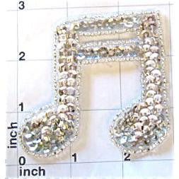 "Double Note with Silver Sequins and Beads 3"" x 3"""