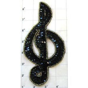 "Treble Clef Black Sequins Gold Beaded Trim 7"" x 3.5"""