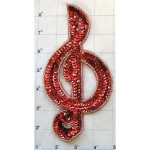 "Treble Clef Red Sequins Silver Beaded Trim 8"" x 4"""