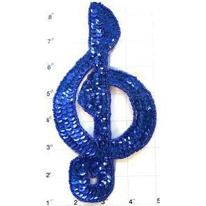 "Treble Clef with all Royal Blue Sequins and Beads 8"" x 4"""