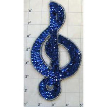 "Load image into Gallery viewer, Treble Clef with Blue Sequins Silver Beads 7.5"" x 4"""