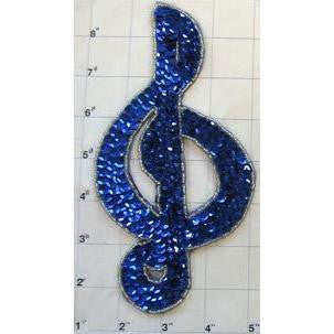 Treble Clef with Blue Sequins Silver Beads 7.5