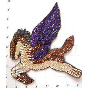 "Horse with Wings, Pegasus, Sequin Beaded 8.5"" x 7"""