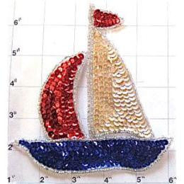 "Sailboat with Beige Red and Blue Sequins and Beads 5.5"" x 5"""