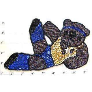 "Bear doing Yoga Sequins and Beads 8"" X 4.5"" and 3"" x 6"""