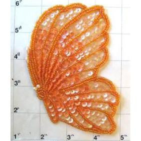 "Butterfly with Orange Sequins and Pearls 5.25"" x 3.5"""