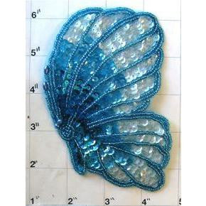"Butterfly with Turqouise Sequins and Beads 5"" x 3.5"""
