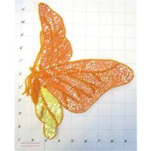 "Butterfly with Orange and Yellow Sequins and Beads  10.5""x 9"""