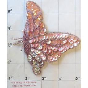 "Butterfly with Pink Sequins Dark Pink Beads 5.5"" x 4"""