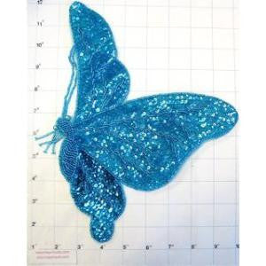 "Butterfly with Turquiose Sequins and Beads  10.5"" X 9"""