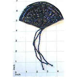 "Designer Motif Fan with Moonlite Sequins and Beads 7"" x 4.5"""
