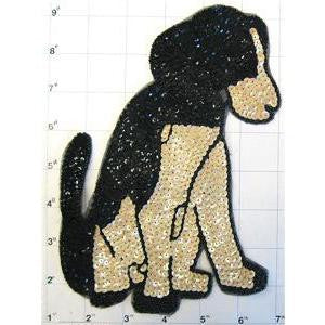 "Dog Sitting Black and Beige Sequins and Beads 8"" x 6"""