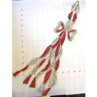 "Bow Silver and Red Dance Skate 19"" x 5"""