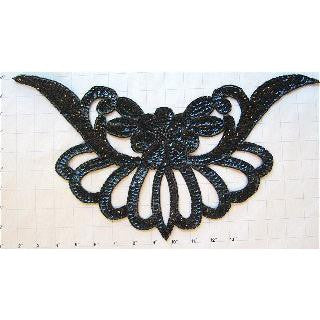 "Designer Motif with Black Sequins and Beads 16"" x 9"""