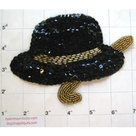 "Hat and Cane with Black and Gold Sequins and Beads 6""x 4"""