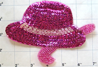 "Hat with Fuchsia Sequins and Beads 6"" x 4"""