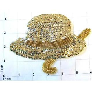"Hat with Cane Gold Sequins and Beads 6"" x 4"""