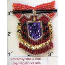 "Load image into Gallery viewer, Crest with Multi-Colored Beads and Sequins 2.5"" x 2.5"""