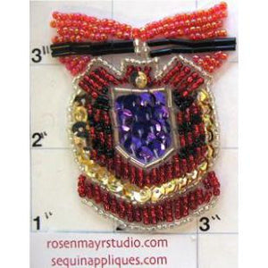 "Crest with Multi-Colored Beads and Sequins 2.5"" x 2.5"""