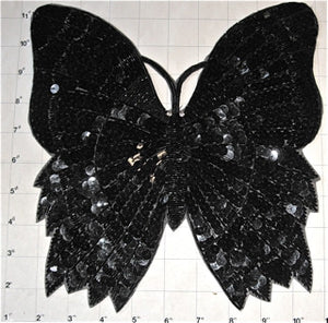 "Butterfly with Black Sequins and Beads 10"" x 10"""
