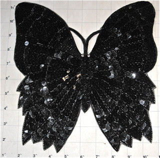 Butterfly with Black Sequins and Beads 10