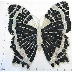 "Butterfly with Black and White Sequins and Beads 10"" x 10"""