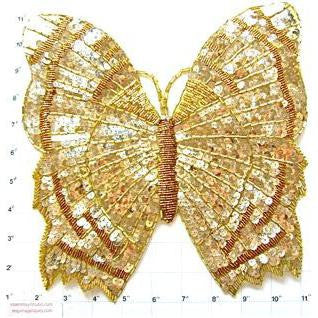 "Butterfly Large Gold Sequins and Beads 10.5"" x 10"""