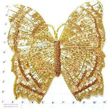 "Load image into Gallery viewer, Butterfly Large Gold Sequins and Beads 10.5"" x 10"""