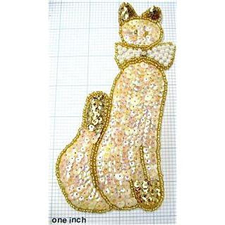 "Cat with Cream and Gold Sequins and Beads, Pearl Bow Center AB Rhinestone 7"" x 4"""