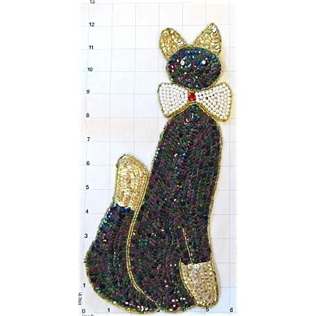 "Cat with Pearl Bow Rhinestone Eyes 12"" x 6"""
