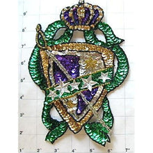 "Load image into Gallery viewer, Crest with Multi-Colored Sequins and Beads Large 8"" x 6"""