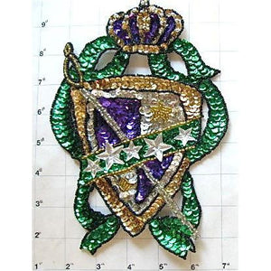 "Crest with Multi-Colored Sequins and Beads Large 8"" x 6"""