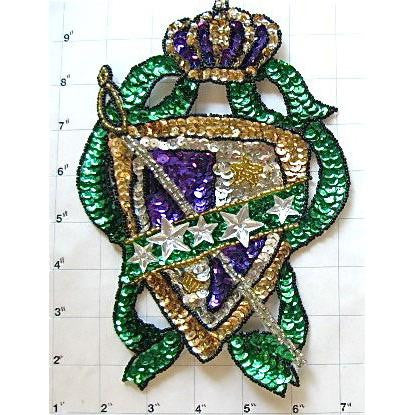 Crest with Multi-Colored Sequins and Beads Large 8