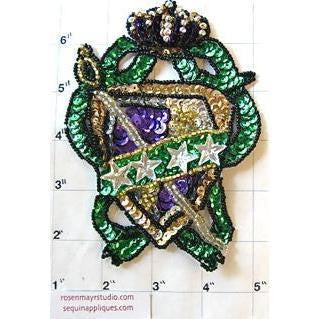 "Crest with Multi-Colored Sequins and Beads 5"" x 4"""