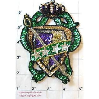 "Crest with Mardi Gras Multi-Colored Sequins and Beads 5"" x 4"""