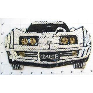 "Corvette with White Gold Black Sequins and Beads 5"" x 9"""
