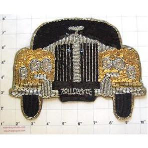 "Rolls-Royce Gold Silver Black Sequin Beaded  8"" x 6"""