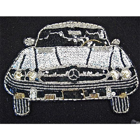 "Mercedes with Silver and Black Sequins and Beads 6"" x 8.5"""