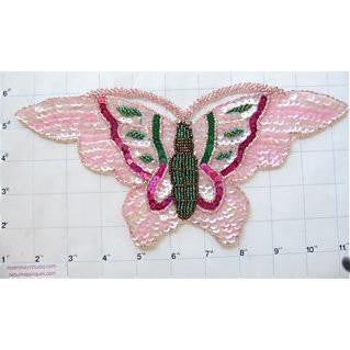 "Butterfly with Pink Green Fuchsia Sequins and Beads and Rhinestone Eyes  10.75"" x 5"""