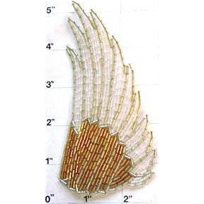 "Motif Wing Whte and Gold Beads 4.5"" x 2.5"""