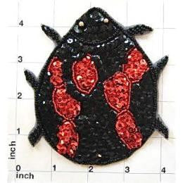 "Beetle with Red and Black Sequins and Beads 4.5"" x 4"""